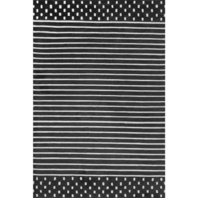 Marlowe Stripes Charcoal 5 ft. x 8 ft. Indoor Area Rug