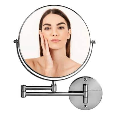13.4 in. x 10.16 in. Modern Round Framed Makeup Vanity Mirror, Polished Chrome