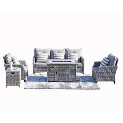 Torch Grey 5-Pieces Wicker Patio Conversation set with Fire pit and Grey Cushions