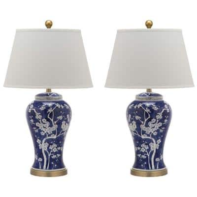 Spring Blossom 29 in. Blue Multi Floral Ceramic Urn Table Lamp with Off-White Shade (2-Set)