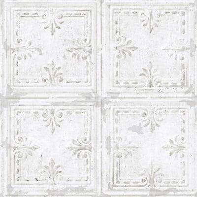 Tin Tile White Geometric Vinyl Peel & Stick Wallpaper Roll (Covers 28.18 Sq. Ft.)