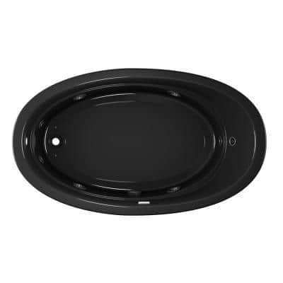 Riva 72 in. x 42 in. Acrylic Left-Hand Drain Oval Drop-in Whirlpool Bathtub in Black
