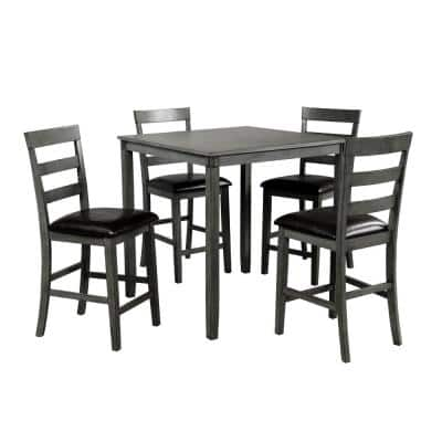 Grey Square Counter Height Wooden Kitchen Dining Set with Table and 4 Armless Chairs