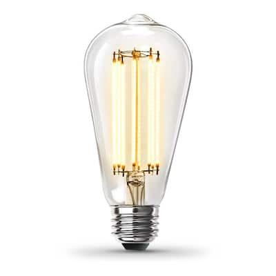 60-Watt Equivalent ST19 Dimmable Straight Filament Clear Glass Vintage Edison LED Light Bulb, Soft White