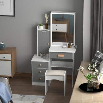 4-Drawers Gray Wood Makeup Vanity Table Stool Set Rectangle Mirror with Storage Shelves