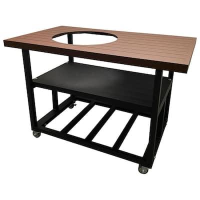 52 in. Aluminum Grill Cart Table for Kamado Joe Classic II in Rust Brown with Locking Wheels, Lifetime Warranty