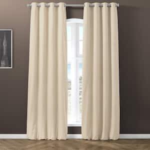 Warm Black Velvet Grommet Blackout Curtain - 50 in. W x 120 in. L