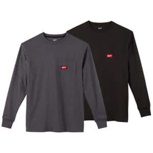 Men's Small Black and Gray Heavy-Duty Cotton/Polyester Long-Sleeve Pocket T-Shirt (2-Pack)