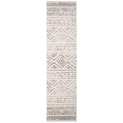 Tulum Ivory/Gray 2 ft. x 7 ft. Striped Geometric Diamonds Runner Rug