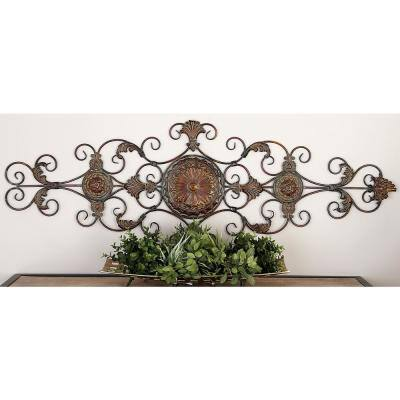 Iron Bronze Acanthus Leaf and Scrollwork Wall Decor