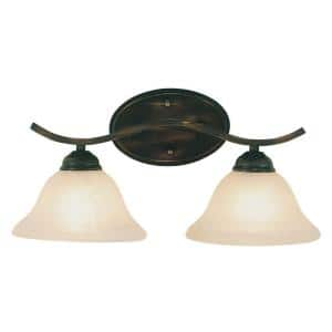 Hollyslope 2-Light Rubbed Oil Bronze Vanity Light with Marbleized Glass Shades
