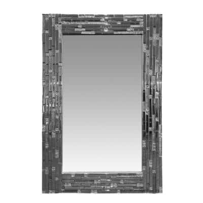36 in. x 0.8 in. Mosaic Tile Design Accent Rectangular Framed Silver Wall Mirror