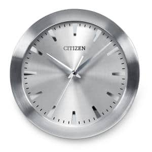 Gallery Circular Wall Clock with Gray Dial In A Brushed Silver-Tone Frame