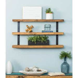 Industrial Grace 5.5 in. x 36 in. x 20 in. Walnut Pine Wood Three-TIer Decorative Wall Shelf with Brackets