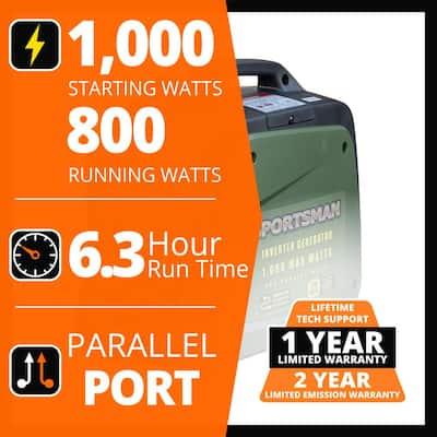 1,000-Watt/800-Watt Gasoline Powered Portable Inverter Generator with Parallel Connection