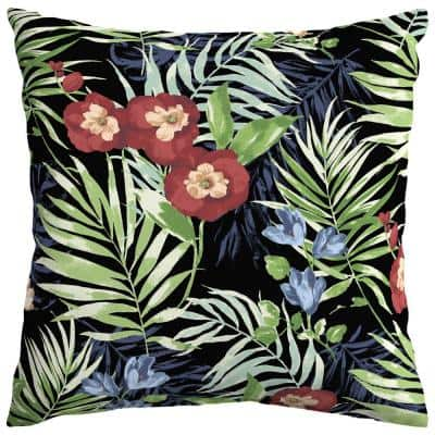Black Tropical Square Outdoor Throw Pillow (2-Pack)