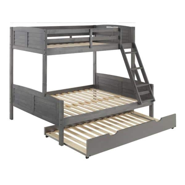 Donco Kids Antique Grey Twin and Full Louver Bunk Bed with Twin Trundle Bed | The Home Depot