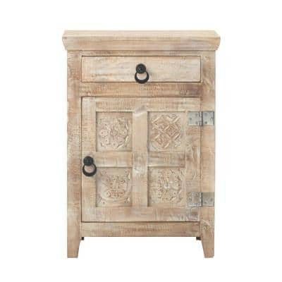 Print Block 1-Drawer Whitewash Nightstand