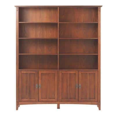 69 in. Medium Oak Wood 8-shelf Standard Bookcase with Adjustable Shelves