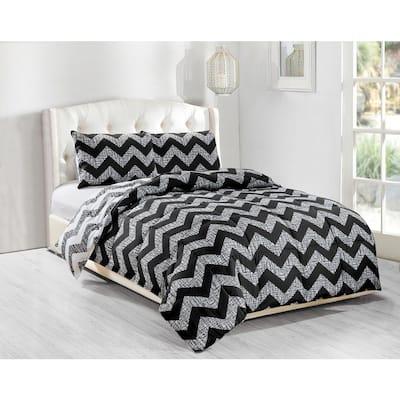 Wyatt 3-Piece Black Full/Queen Comforter Set