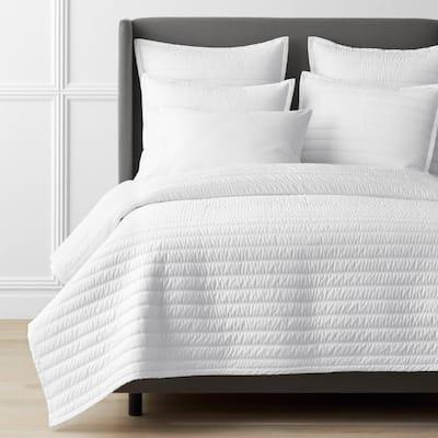 Legends Hotel Wrinkle-Free White Striped Full Cotton Sateen Coverlet