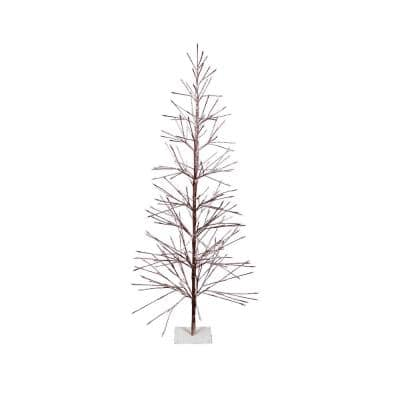 Indoor/Outdoor Artificial Flocked Christmas Tree with Warm White LED Lights, Brown