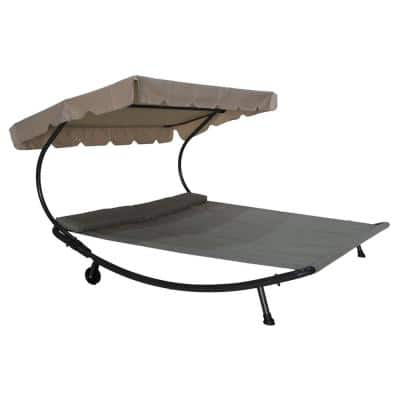 Brown Metal Double Outdoor Chaise Lounge Bed with Gray Cushions and Headrest Pillow