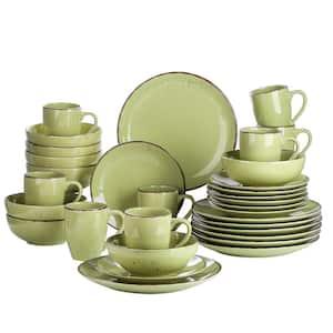 Navia Nature Prato Grass green 32-Pieces Ceramic Dinnerware Sets (Service for 8)