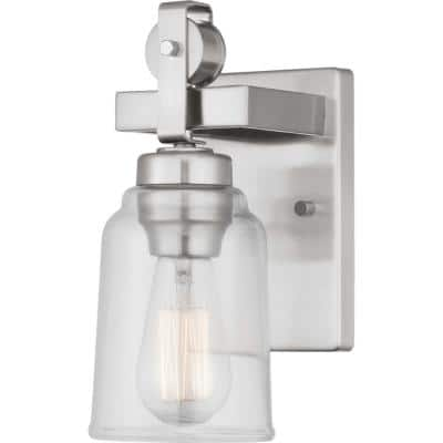 Knollwood 4.5 in. Brushed Nickel Sconce with Clear Glass Shade