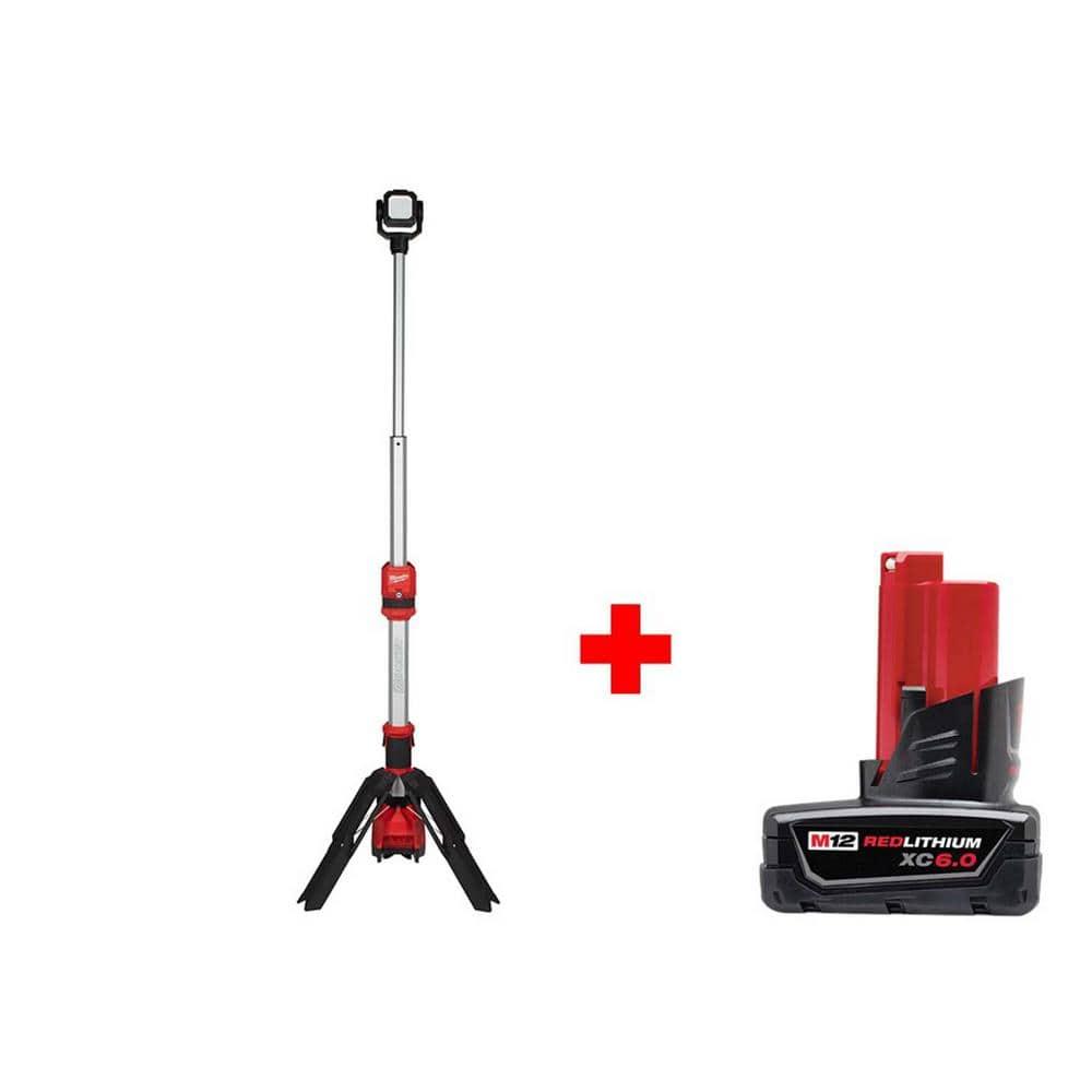 M12 12-Volt Lithium-Ion Cordless 1400 Lumen ROCKET LED Stand Work Light W/ 6.0 Ah M12 Battery