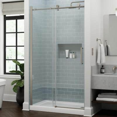 Exuma 48 in. W x 76 in. H Sliding Frameless Shower Door in Brushed Nickel with 3/8 in. (10 mm) Clear Glass