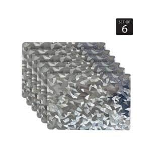 Metallic Leaf 18 in. x 12 in. Grays Vinyl Placemats (Set of 6)