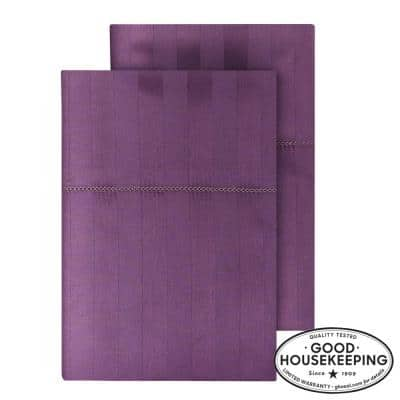 500 Thread Count Egyptian Cotton Sateen Standard Pillowcase in Orchid Damask (Set of 2)