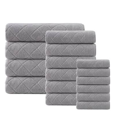 Gracious 16-Pieces Silver Turkish cotton Towel Set
