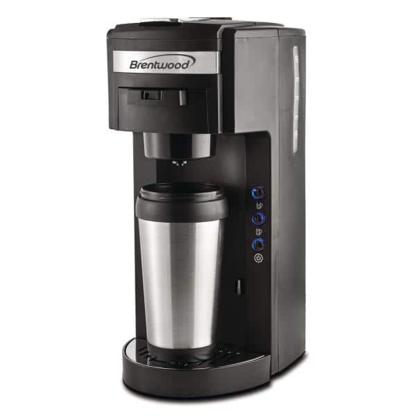 Brentwood Black Single Serve Coffe Maker With Stainless Steel Coffee Mug Ts114 The Home Depot