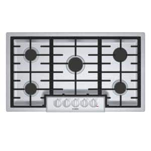 800 Series 36 in. Gas Cooktop in Stainless Steel with 5 Burners including 19,000 BTU Burner