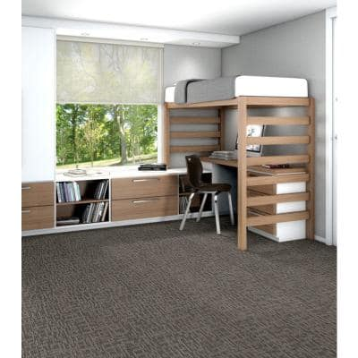 Generous Thicket Loop Commercial 24 in. x 24 in. Glue Down Carpet Tile (20 Tiles/Case)