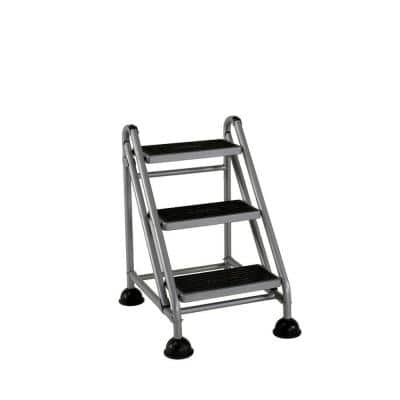 2.59 ft. 3-Step Rolling Step Ladder with 300 lbs. Load Capacity