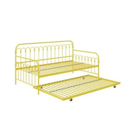 Bright Pop Yellow Metal Twin Daybed with Trundle