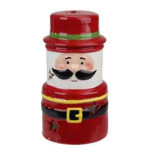 5.5 in. LED Lighted Ceramic Gnome Santa Gnome Christmas Decoration