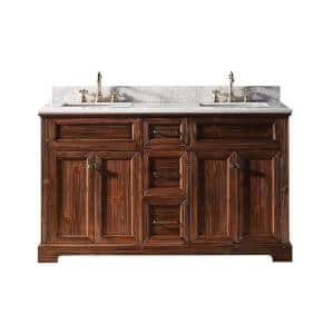 60 in. W x 22 in. D x 36 in. H Bath Vanity in Brown with Carrara Marble Vanity Top in White with White Basin