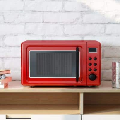 Retro 0.7 cu. ft. Countertop Microwave in Red with Timer Child Lock and LED Display-700 W