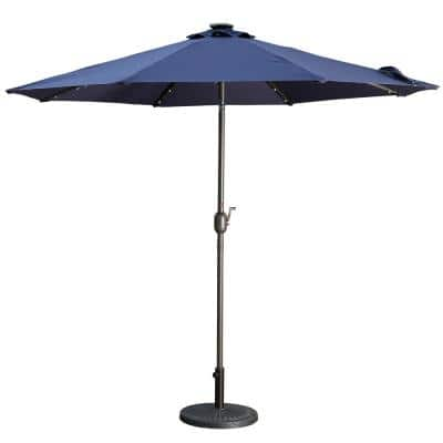 9 ft. Outdoor Beach Umbrella LED Solar Patio Umbrella with Tilt and Crank Without Base in Navy Blue