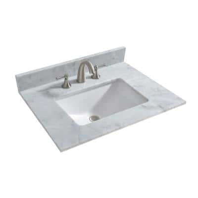 Newton 31 in. x 22 in. Carrara Marble Vanity Top in Carrara White with White Square Sink for Widespread Installation