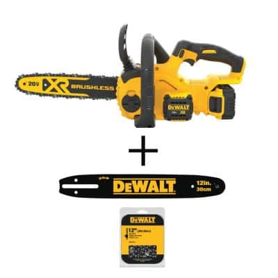 12 in. 20-Volt MAX Cordless Brushless Chainsaw with 12 in. Chainsaw Bar and 12 in. Chainsaw Chain (45 Link)