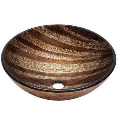 Alamere Glass Vessel Sink in Brown and Golden Tone