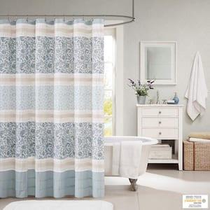 Vanessa Blue 72 in. Cotton Shower Curtain