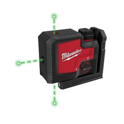 Green 100 ft. 3-Point Rechargeable Laser Level with REDLITHIUM Lithium-Ion USB Battery and Charger