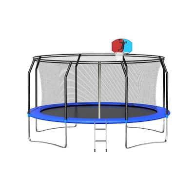 12 ft. Trampoline w/ Basketball Hoop and Enclosure Ladder Backboard Net Garden Outdoor