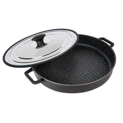 Granite Ultra 12 in. Cast Aluminum Nonstick Grill Pan in Black with Lid